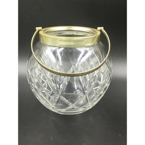 SILVER PLATED TAPERED GLASS CRYSTAL Bowl W/ Handle